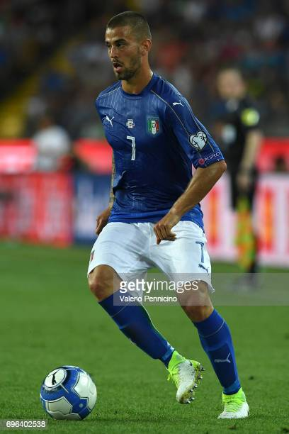 Leonardo Spinazzola of Italy in action during the FIFA 2018 World Cup Qualifier between Italy and Liechtenstein at Stadio Friuli on June 11 2017 in...