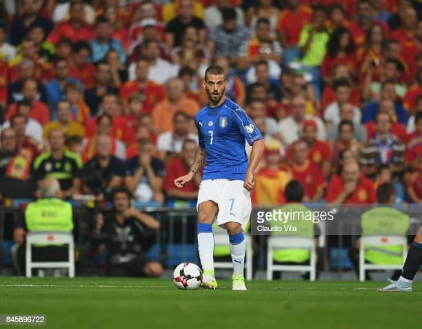 Leonardo Spinazzola of Italy in action during the FIFA 2018 World Cup Qualifier between Spain and Italy at Estadio Santiago Bernabeu on September 2...