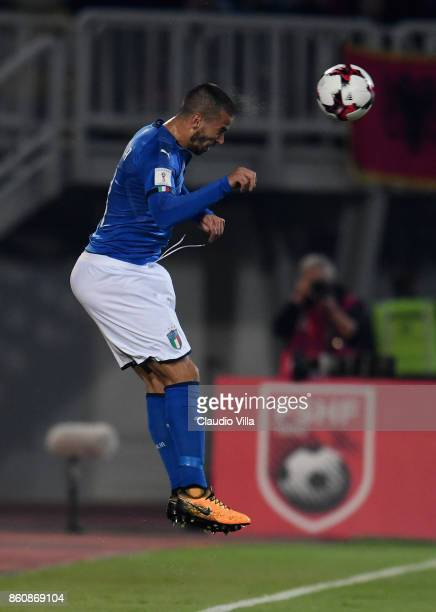 Leonardo Spinazzola of Italy in action during the FIFA 2018 World Cup Qualifier between Albania and Italy at Loro Borici Stadium on October 9 2017 in...