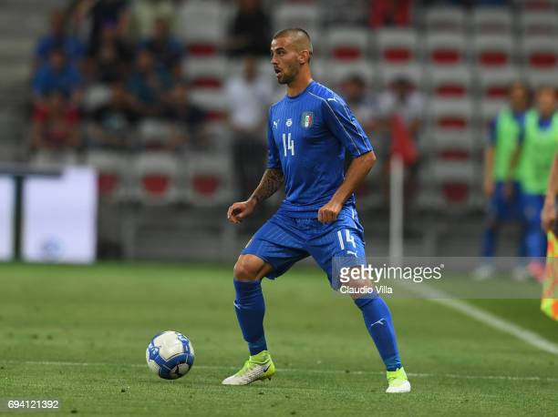 Leonardo Spinazzola of Italy in action during the International Friendly match between Italy and Uruguay at Allianz Riviera Stadium on June 7 2017 in...