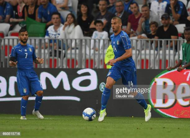Leonardo Spinazzola of Italy in action during the International Friendly match between Italy v Uruguay on June 7 2017 in Nice France
