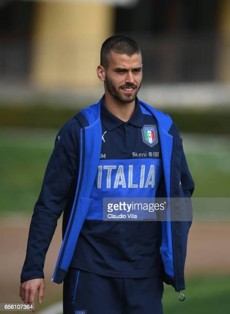 Leonardo Spinazzola of Italy lookks on prior to the training session at the club's training ground at Coverciano on March 21 2017 in Florence Italy