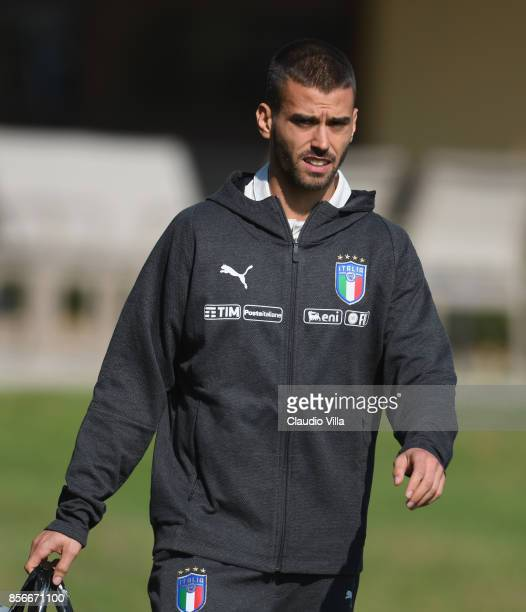 Leonardo Spinazzola of Italy looks on during a training session at Italy club's training ground at Coverciano on October 2 2017 in Florence Italy