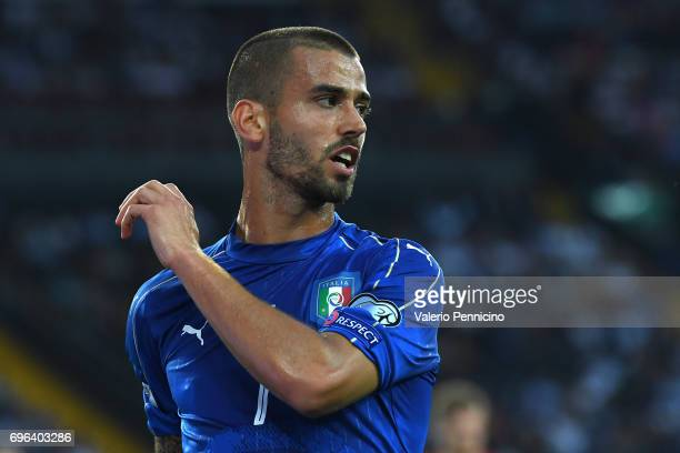 Leonardo Spinazzola of Italy looks on during the FIFA 2018 World Cup Qualifier between Italy and Liechtenstein at Stadio Friuli on June 11 2017 in...