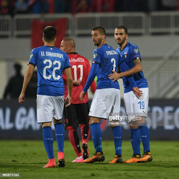 Leonardo Spinazzola of Italy looks on during the FIFA 2018 World Cup Qualifier between Albania and Italy at Loro Borici Stadium on October 9 2017 in...