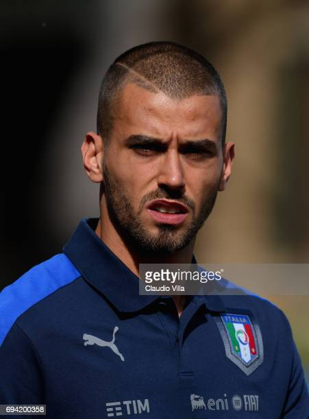 Leonardo Spinazzola of Italy looks on prior to the training session at Coverciano on June 09 2017 in Florence Italy