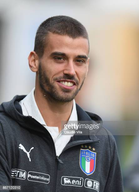 Leonardo Spinazzola of Italy looks on prior to the training session at Italy club's training ground at Coverciano on October 3 2017 in Florence Italy