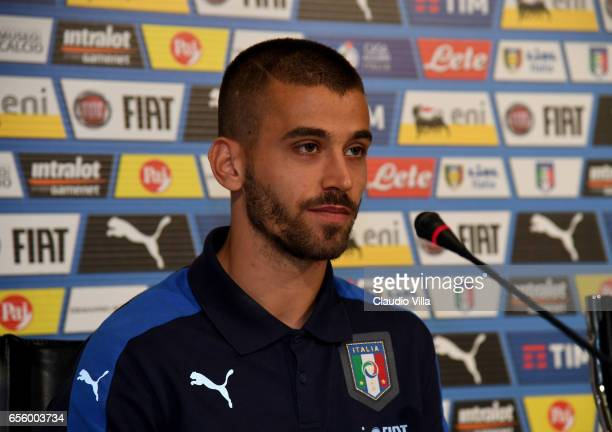 Leonardo Spinazzola of Italy speaks with the media during the press conference at the club's training ground at Coverciano on March 21 2017 in...