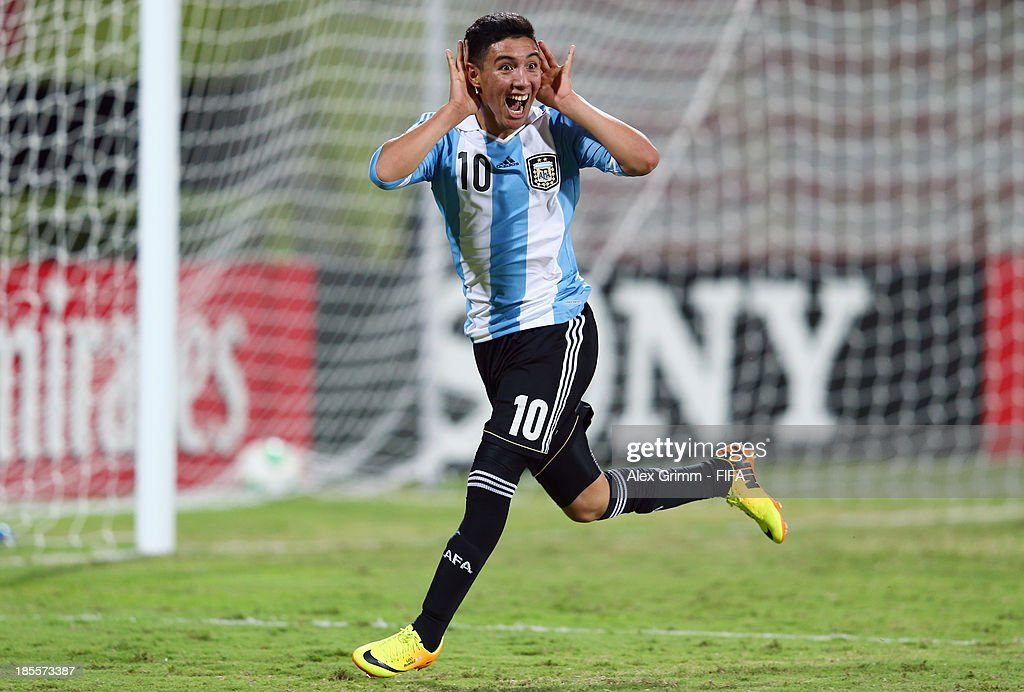 Leonardo Suarez of Argentina celebrates his team's third goal during the FIFA U-17 World Cup UAE 2013 Group E match between Argentina and Austria at Al Rashid Stadium on October 22, 2013 in Dubai, United Arab Emirates.