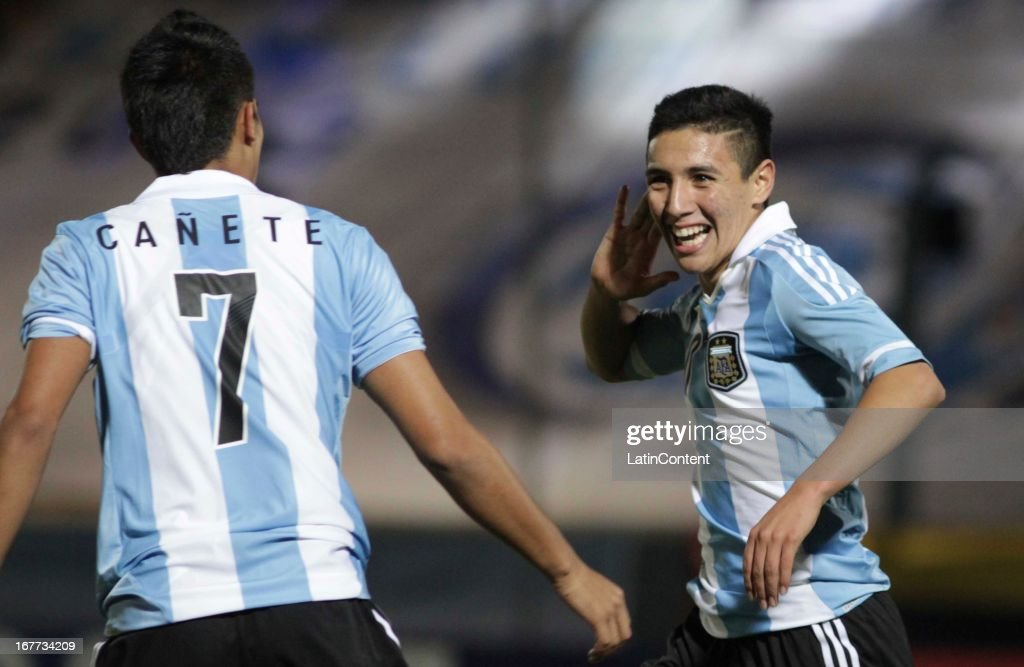 Leonardo Suárez of Argentina celebrates a goal during a match between Argentina and Venezuela as part of the U17 South American Championship at Juan...