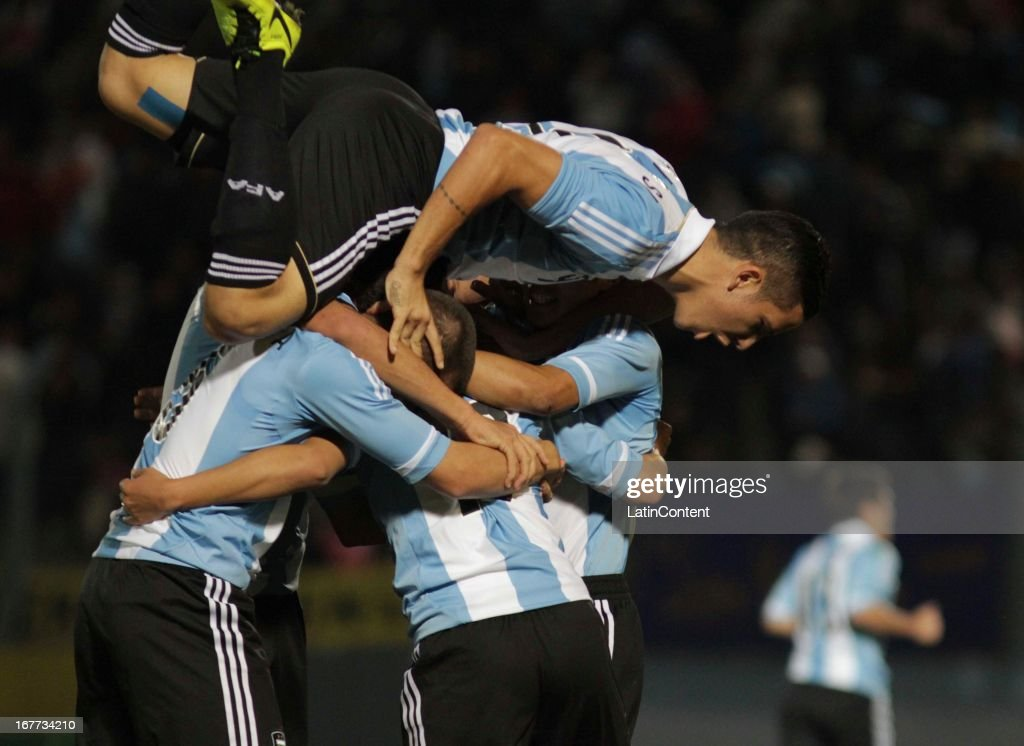 Leonardo Suárez of Argentina celebrates a goal during a match between Argentina and Venezuela as part of the U17 South American Championship at Juan Gilberto Funes on April 28, 2013 in La Punta, San Luis, Argentina.