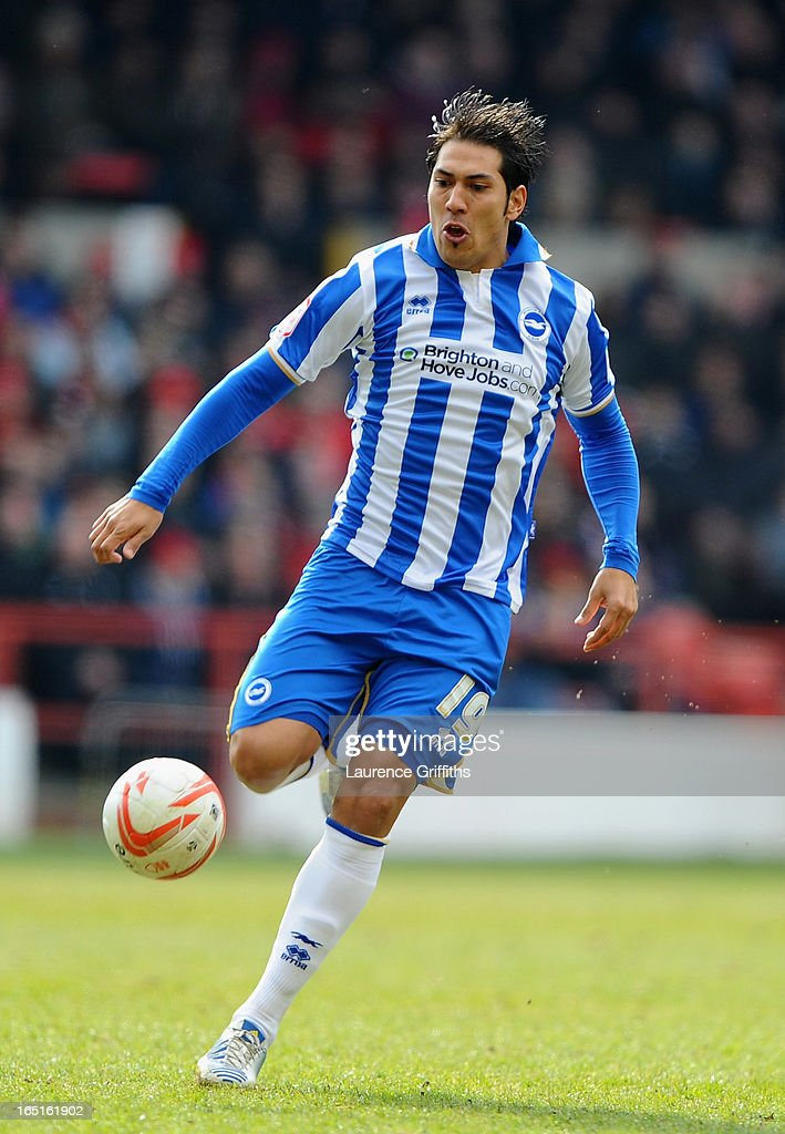 Leonardo Ulloa of Brighton and Hove Albion during the npower Championship match between Nottingham Forest and Brighton and Hove Albion at City Ground on March 30, 2013 in Nottingham, England.