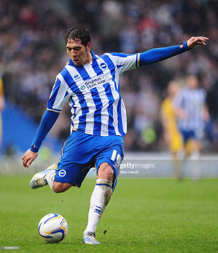 <a gi-track='captionPersonalityLinkClicked' href=/galleries/search?phrase=Leonardo+Ulloa&family=editorial&specificpeople=7433674 ng-click='$event.stopPropagation()'>Leonardo Ulloa</a> of Brighton has a shot at goal during the npower Championship match between Brighton & Hove Albion and Crystal Palace at Amex Stadium on March 17, 2013 in Brighton, England.
