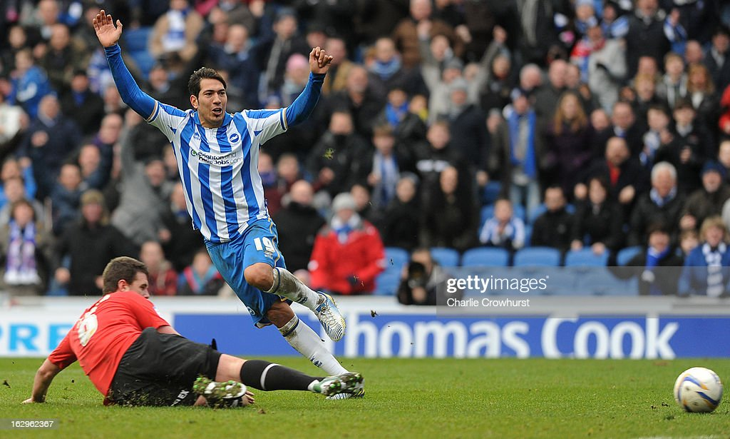 Leonardo Ulloa of Brighton & Hove Albion scores his hat-trick during the npower Championship match between Brighton & Hove Albion and Huddersfield Town at The Amex Stadium on March 02, 2013 in Brighton England.