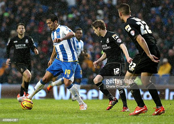 Leonardo Ulloa of Brighton looks to take on the Bournemouth defence during the Sky Bet Championship match between Brighton Hove Albion and AFC...