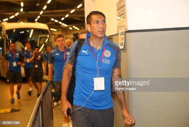 Leonardo Ulloa of Leicester City arrives at Hong Kong Stadium ahead of the Premier League Asia Trophy Final between Liverpool FC and Leicester City...