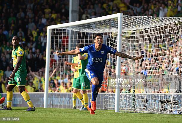 Leonardo Ulloa of Leicester City celebrates after scoring but his goal was disalowed during the Barclays Premier League match between Norwich City...