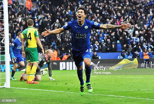 Leonardo Ulloa of Leicester City celebrates after scoring to make it 10 during the Barclays Premier League match between Leicester City and Norwich...
