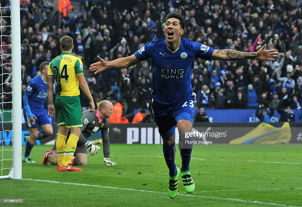 Leonardo Ulloa of Leicester City celebrates after scoring to make it 10 during Barclays Premier League match between Leicester City and Norwich City...