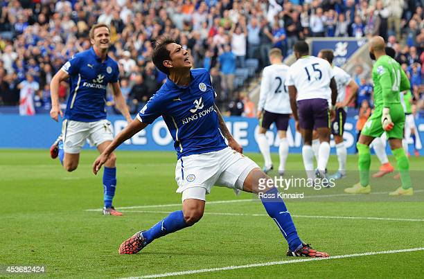 Leonardo Ulloa of Leicester City celebrates scoring his goal during the Barclays Premier League match between Leicester City and Everton at the King...