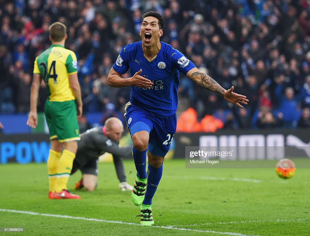Leonardo Ulloa of Leicester City celebrates scoring his team's first goal during the Barclays Premier League match between Leicester City and Norwich City at The King Power Stadium on February 27, 2016 in Leicester, England.