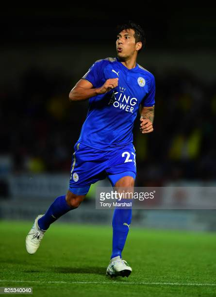 Leonardo Ulloa of Leicester City during the PreSeason Friendly match between Burton Albion v Leicester City at Pirelli Stadium on August 1 2017 in...