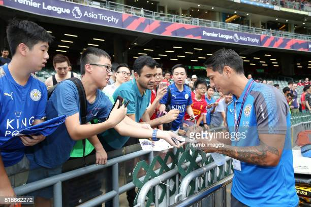 Leonardo Ulloa of Leicester City signs autographs at Hong Kong Stadium ahead of the Premier League Asia Trophy on July 19th 2017 in So Kon Po Hong...