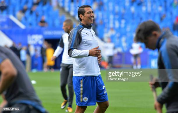 Leonardo Ulloa of Leicester City warms up at King Power Stadium ahead of the Premier League match between Leicester City and Brighton and Hove Albion...