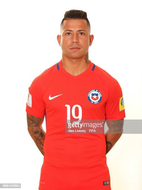 Leonardo Valencia of Chile during a portrait session ahead of the FIFA Confederations Cup Russia 2017 at the Crowne Plaza Hotel on June 15 2017 in...