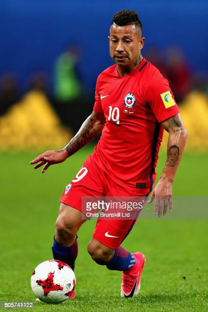 Leonardo Valencia of Chile in action during the FIFA Confederations Cup Russia 2017 Final match between Chile and Germany at Saint Petersburg Stadium...