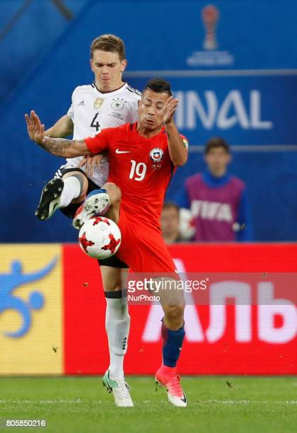 Leonardo Valencia of Chile national team and Matthias Ginter of Germany national team vie for the ball during FIFA Confederations Cup Russia 2017...