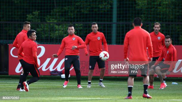 Leonardo Valencia of Chile passes the ball during a training session at the Strogino Training Ground during the FIFA Confederations Cup Russia 2017...
