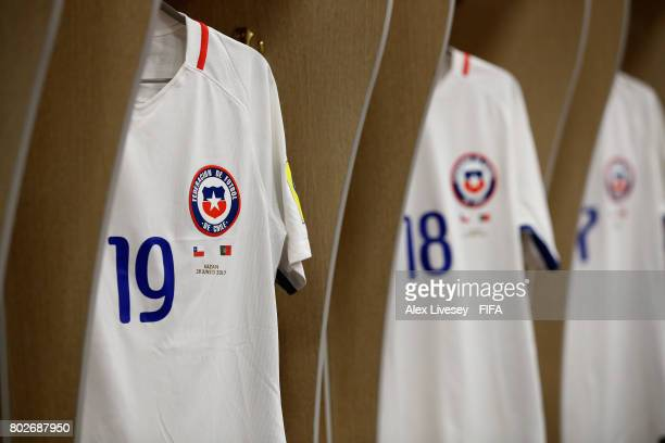 Leonardo Valencia of Chile shirt hangs in the changing room prior to the FIFA Confederations Cup Russia 2017 SemiFinal between Portugal and Chile at...