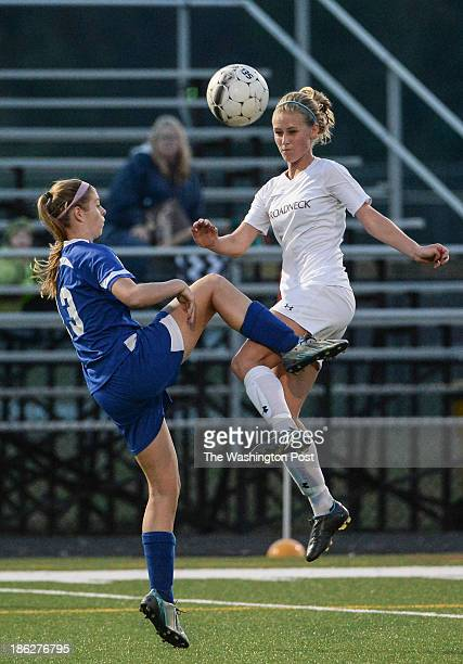 Leonardtown's Sarah Selby left and Broadneck's Taylor Green battle for a loose ball during the Maryland High School 4A East girls' soccer...