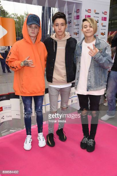 Leondre Devries Mario Novembre Charlie Lenehan during the red carpet arrivals at the VideoDays 2017 at Lanxess Arena on August 24 2017 in Cologne...