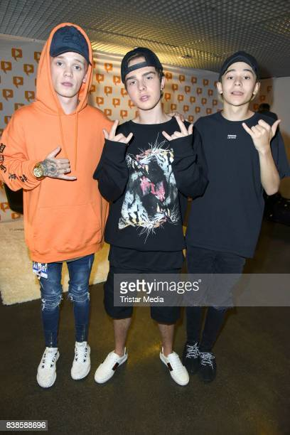Leondre Devries Mike Singer and Charlie Lenehan during the red carpet arrivals at the VideoDays 2017 at Lanxess Arena on August 24 2017 in Cologne...