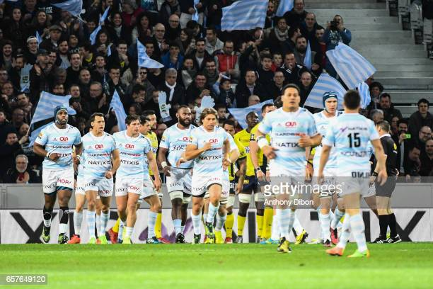 Leone Nakarawa and Team of Racing 92 celebrates the first try during the Top 14 match between Racing 92 and Clermont Auvergne at Stade PierreMauroy...