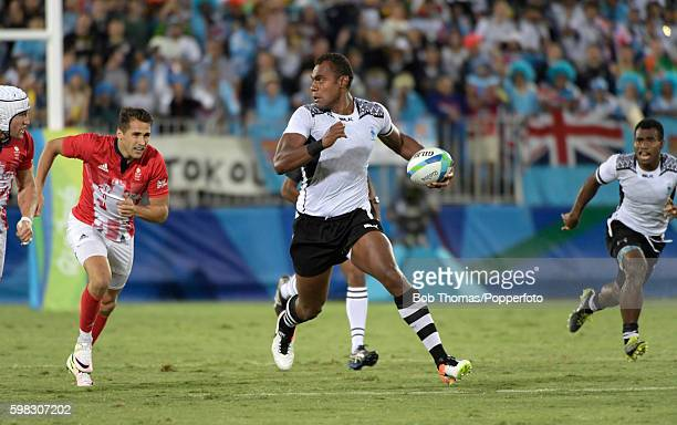 Leone Nakarawa in action for Fiji during the Men's Rugby Sevens Gold medal final match between Fiji and Great Britain on Day 6 of the Rio 2016...