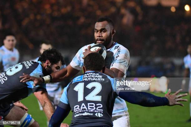 Leone Nakarawa of Racing 92 takes on the Bayonne defence during the Top 14 match between Racing 92 and Aviron Bayonnais Bayonne on February 11 2017...