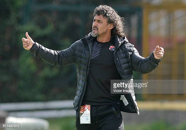 Leonel Alvarez coach of Independiente Medellin gestures during the 5th round match between La Equidad and Independiente Medellin as port of Liga...