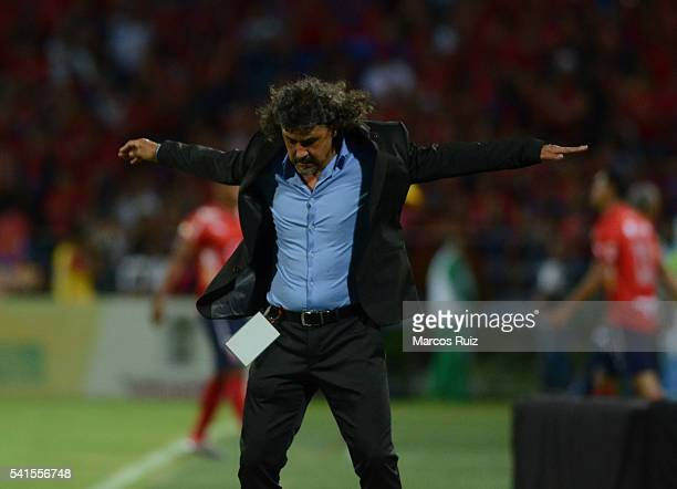 Leonel Alvarez coach of Medellin reacts during a second leg final match between Independiente Medellin and Junior as part of Liga Aguila I 2016 at...