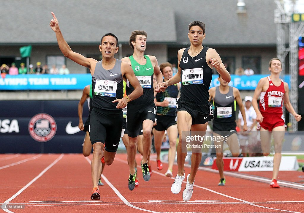 Leonel Manzano (L) celebrates as he crosses the finish line to win the Men's 1500 Meter Run Final ahead of <a gi-track='captionPersonalityLinkClicked' href=/galleries/search?phrase=Matthew+Centrowitz&family=editorial&specificpeople=7293929 ng-click='$event.stopPropagation()'>Matthew Centrowitz</a> on day ten of the U.S. Olympic Track & Field Team Trials at the Hayward Field on July 1, 2012 in Eugene, Oregon.