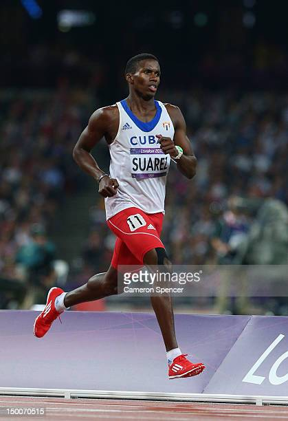 Leonel Suarez of Cuba competes during the Men's Decathlon 1500m on Day 13 of the London 2012 Olympic Games at Olympic Stadium on August 9 2012 in...