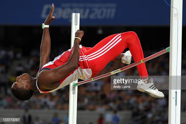 Leonel Suarez of Cuba competes in the High Jump in the men's decathlon during day one of the 13th IAAF World Athletics Championships at the Daegu...