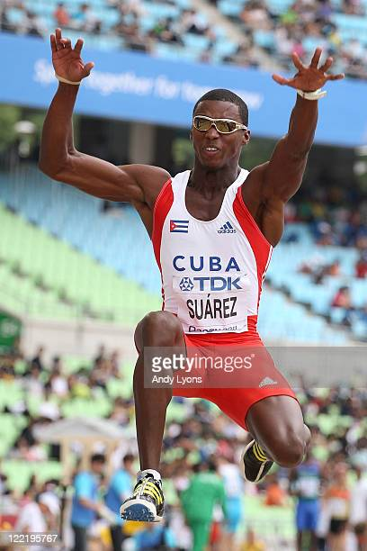 Leonel Suarez of Cuba competes in the long jump in the men's decathlon during day one of the 13th IAAF World Athletics Championships at the Daegu...