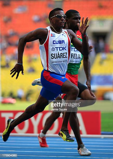 Leonel Suarez of Cuba competes in the Men's Decathlon 100 metres during Day One of the 14th IAAF World Athletics Championships Moscow 2013 at...