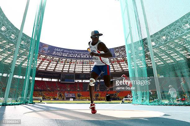 Leonel Suarez of Cuba competes in the Men's Decathlon Discus during Day Two of the 14th IAAF World Athletics Championships Moscow 2013 at Luzhniki...