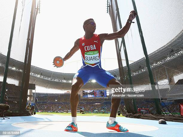 Leonel Suarez of Cuba competes in the Men's Decathlon Discus Throw on Day 13 of the Rio 2016 Olympic Games at the Olympic Stadium on August 18 2016...
