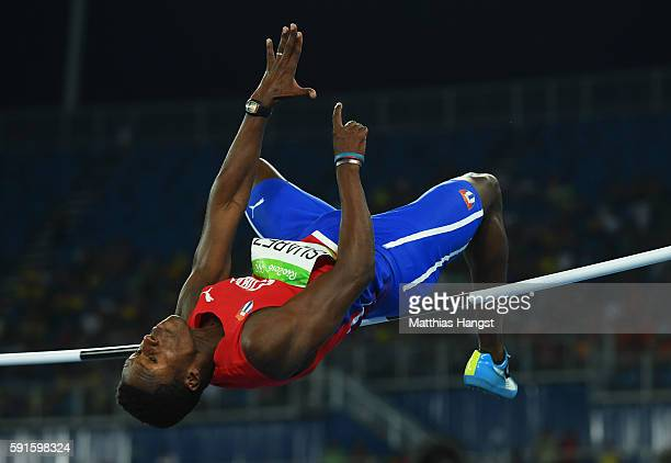 Leonel Suarez of Cuba competes in the Men's Decathlon High Jump on Day 12 of the Rio 2016 Olympic Games at the Olympic Stadium on August 17 2016 in...