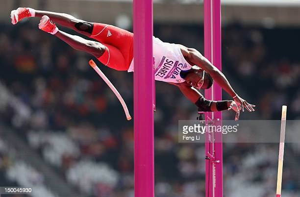 Leonel Suarez of Cuba competes in the Men's Decathlon Pole Vault on Day 13 of the London 2012 Olympic Games at Olympic Stadium on August 9 2012 in...